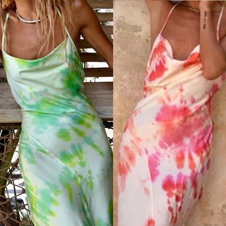 Damen Tie Dye Print Sling Neckholder Schmales Fischschwanzkleid NHWA372225's discount tags