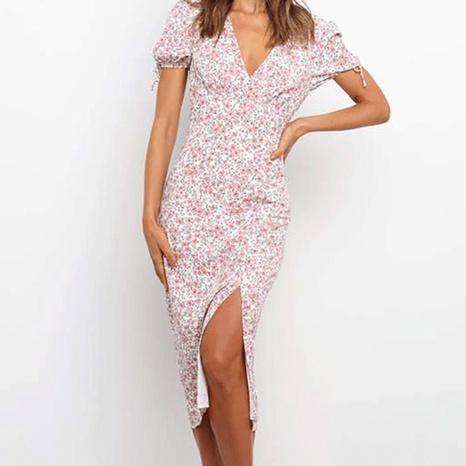 Sommer Damenmode Slim Deep V Kurzarm Split Kleid NHWA372235's discount tags