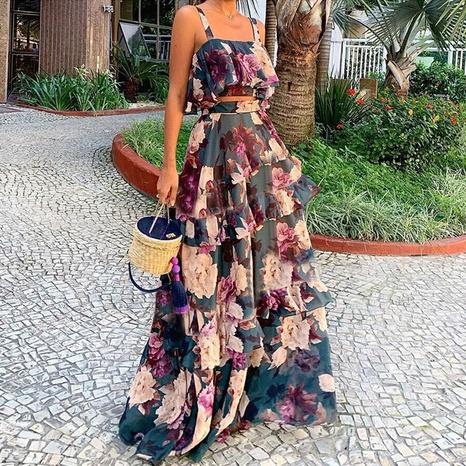 High Waist Sleeveless Backless Cake Tank Top Dress Set NHWA372234's discount tags