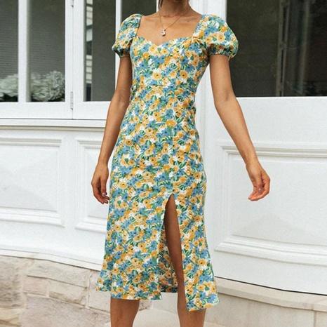 Sommer Damenmode Slim Floral High Fork Dress NHWA372230's discount tags