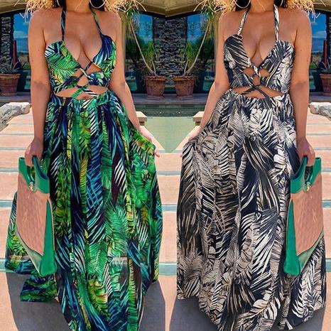 Damenmode Sexy gewickelte Brust bedrucktes ärmelloses großes Swing-Kleid NHWA372228's discount tags