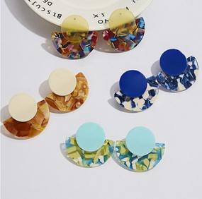 retro geometric fan-shaped round pendant acrylic stud earrings  NHHER370745