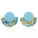 retro geometric fanshaped round pendant acrylic stud earrings  NHHER370745
