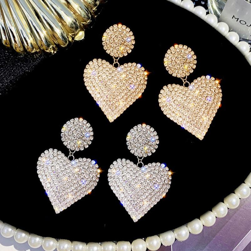 fashion full of diamond heart earrings  NHHER370749