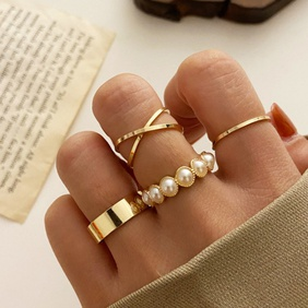 retro inlaid pearl joint ring four-piece set  NHHER370791