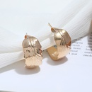 new fashion golden leaf feather hoop earrings  NHHER370808