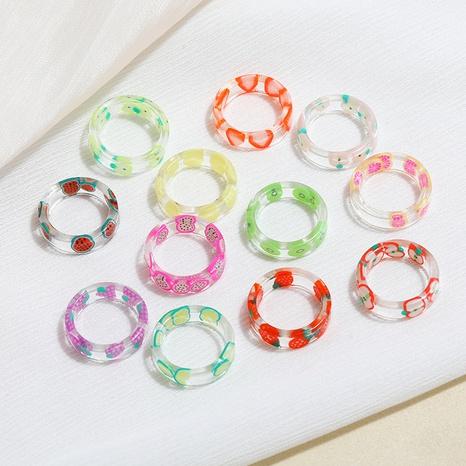 Korea transparent acrylic fruit ring  NHHER370818's discount tags