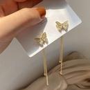 Korean style twowear butterfly tassel long earrings  NHHER370824