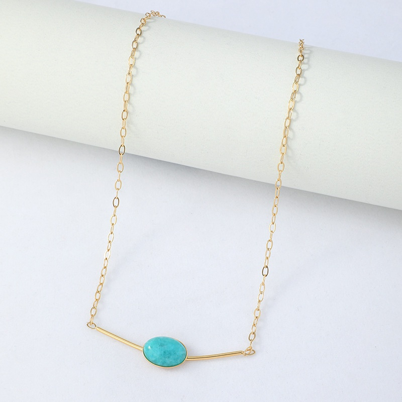Fashion Turquoise Bead Pendant Stainless Steel Necklace  NHYUN370870