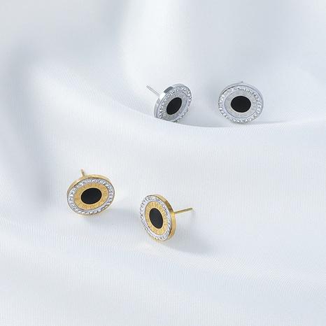 Pendientes coreanos de acero inoxidable de color en contraste con diamantes redondos NHYUN370875's discount tags