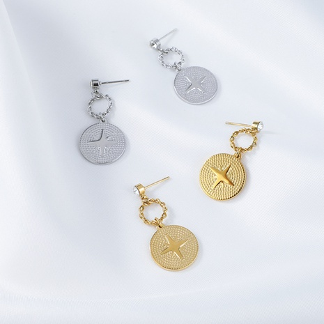 simples aretes redondos de acero inoxidable con baño de oro NHYUN370876's discount tags