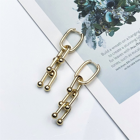 new U-shaped buckle stitching chain copper earrings  NHPY370891's discount tags