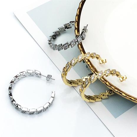 pendientes de aro de circonita con incrustaciones de cobre geométrico retro dorado NHPY370898's discount tags