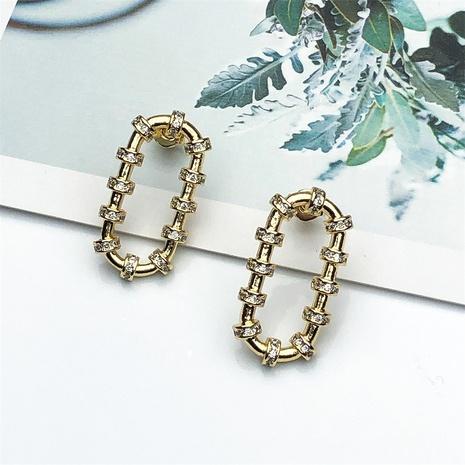 aretes de circonitas con incrustaciones de cobre ovalado geométrico simple NHPY370901's discount tags