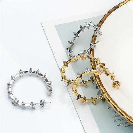 Pendientes en forma de C de circón con incrustaciones micro de moda al por mayor NHPY370900's discount tags