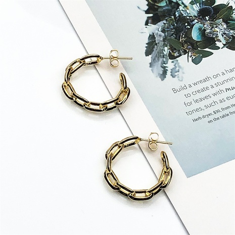 new retro ring buckle copper gold-plated C-shaped earrings  NHPY370904's discount tags