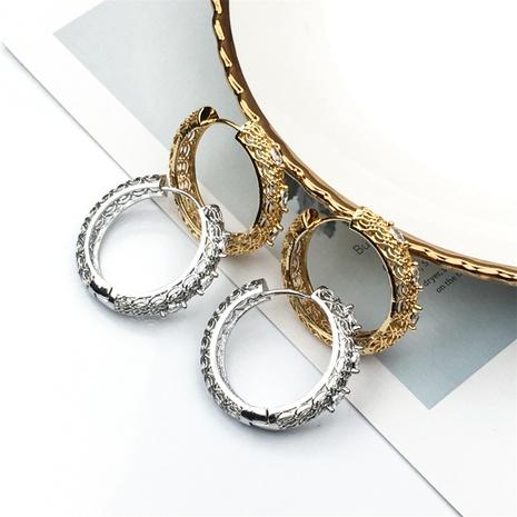 aretes de aro sencillos de circonita, cobre, bañados en oro, tallados NHPY370905's discount tags