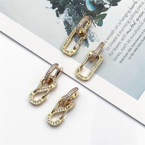 Pendientes de circonitas con incrustaciones de cobre con clip retro NHPY370909's discount tags
