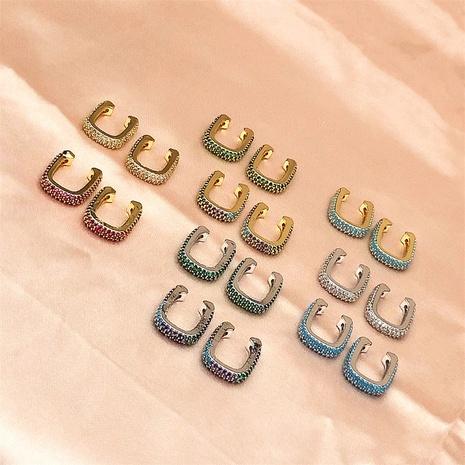 Clip de oreja no perforado de circón con incrustaciones de cobre en forma de U de moda NHPY370910's discount tags
