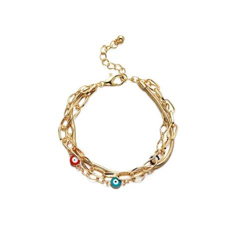 fashion color eye beads pendant multi-layer chain bracelet wholesale NHBD371171's discount tags