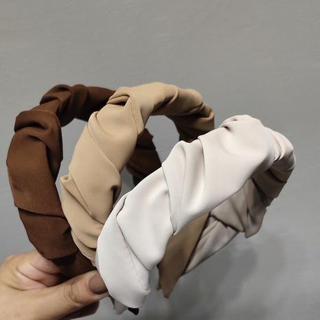 Koreanische einfarbige Falten Stoffstirnband Großhandel NHAR371209's discount tags