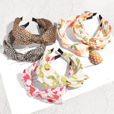simple leopard fruit printing knotted headband NHAQ371220's discount tags