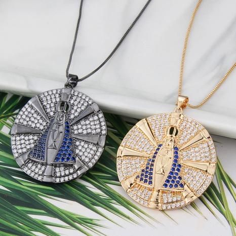 collar de circonio con incrustaciones de cobre con colgante redondo simple de la Virgen María NHBP371243's discount tags