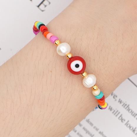 bohemian style pearl red demon eye bracelet wholesale NHYUX371264's discount tags