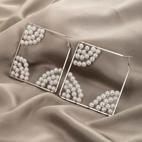 nouvelles boucles d'oreilles géométriques diamant carré perle NHGY373040's discount tags