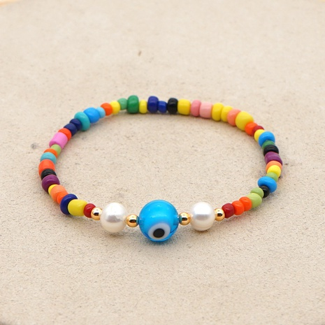 Bohemian style Demon Eye Color Beaded Pearl Bracelet Wholesale NHYUX371265's discount tags