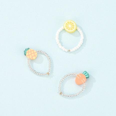 cute cartoon fruit soft clay ring 3-piece set NHXS371322's discount tags