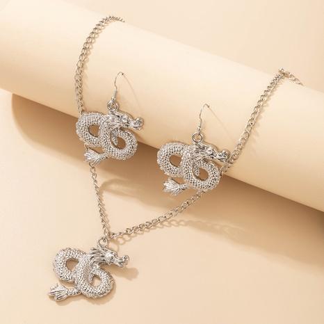 ensemble de colliers de boucles d'oreilles dragon volant en argent rétro NHGY373037's discount tags