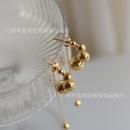 Retro Metal Ball Gold Bead Tassel Titanium Steel Stud Earrings NHGC371414
