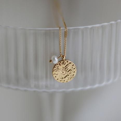 Collar de acero de titanio con colgante redondo de perlas simples NHGC371415's discount tags