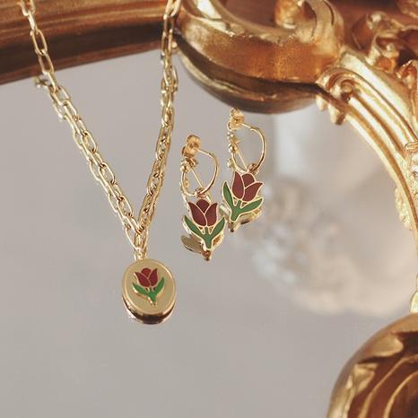 Pendiente retro del collar del acero del titanio de la flor roja del vino del tulipán NHGC371421's discount tags