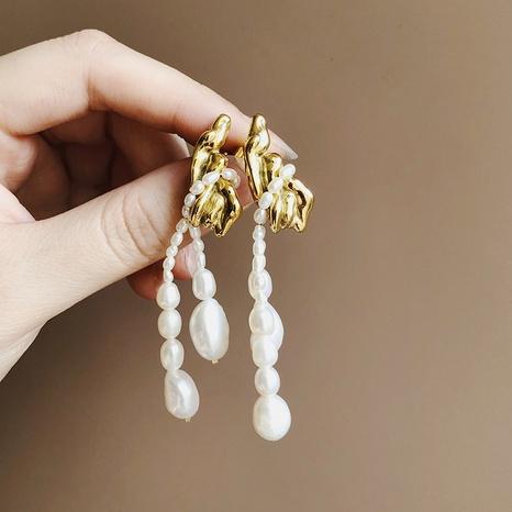 Pendientes de botón de acero de titanio con borla irregular de perlas coreanas NHGC371422's discount tags