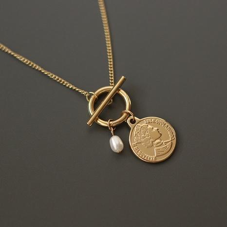 Collar de acero de titanio Retro Pearl Queen OT NHGC371428's discount tags