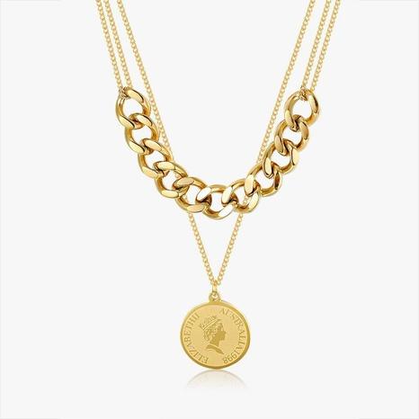 Collar Doble Retro Coin de Acero y Titanio NHGC371435's discount tags