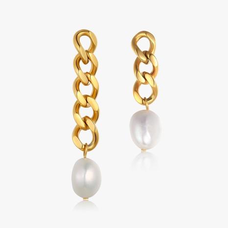 Pendientes de acero titanio asimétricos irregulares con perla retro NHGC371436's discount tags