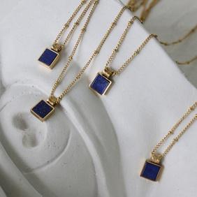 Simple lapis lazuli square titanium steel necklace  NHGC371437