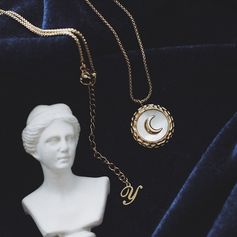 Simple Shell Moon Crescent Irregular Titanium Steel Necklace  NHGC371440's discount tags