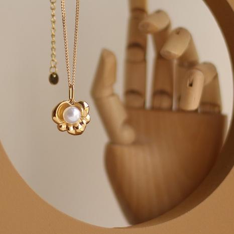 Collar de acero de titanio tridimensional con flor de perla retro NHGC371447's discount tags