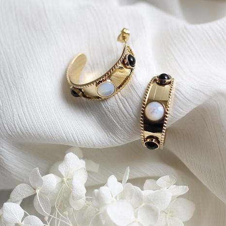 pendientes barrocos de acero titanio perla blanca NHGC371452's discount tags