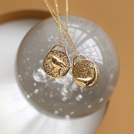 Collar retro de acero de titanio de doble cara con pájaro ballena NHGC371455's discount tags