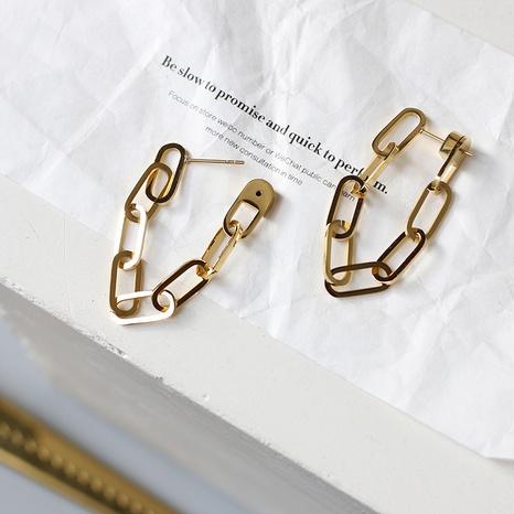 Pendientes de acero titanio con anillo de cadena gruesa retro NHGC371458's discount tags