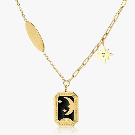 Retro Star Moon Epoxy Black Enamel Titanium Steel Necklace  NHGC371460's discount tags
