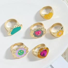 simple gemstone metal heart acrylic ring wholesale NHJQ371492