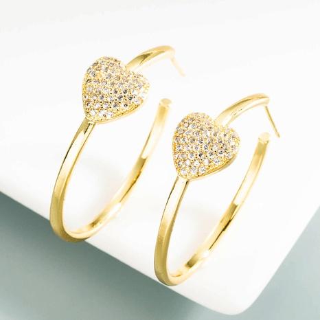 aretes de aro de corazón en forma de C simples retro NHLN371508's discount tags