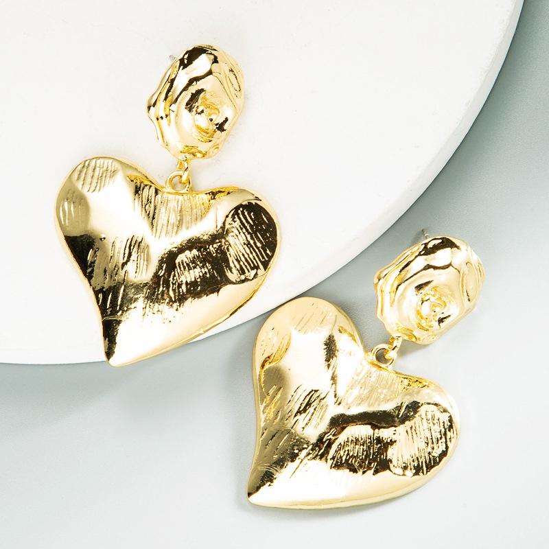 retro geometric heartshaped earrings  NHLN371512