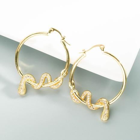 pendientes de circonita con micro incrustaciones de cobre y serpiente de moda NHLN371520's discount tags